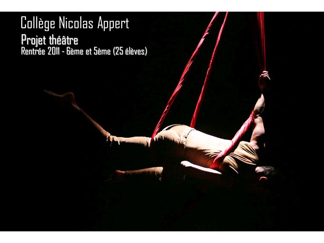 Projet théâtre Rentrée 2011 - 6ème et 5ème (25 élèves) Collège Nicolas Appert