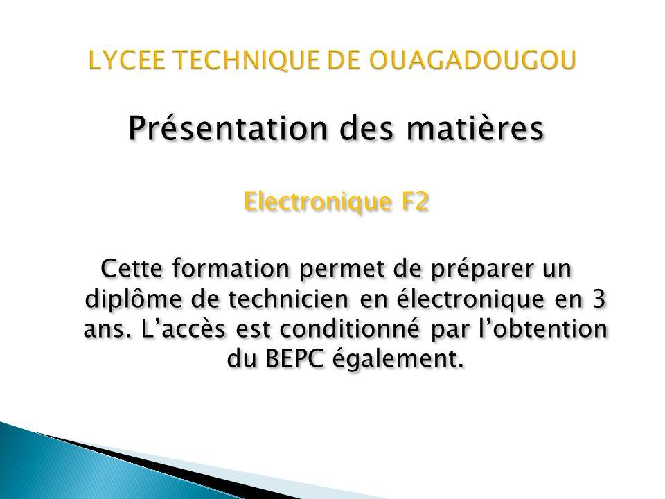 Présentation des matières Mécanique F1 Cette formation permet de préparer un diplôme de technicien en mécanique en 3 ans.