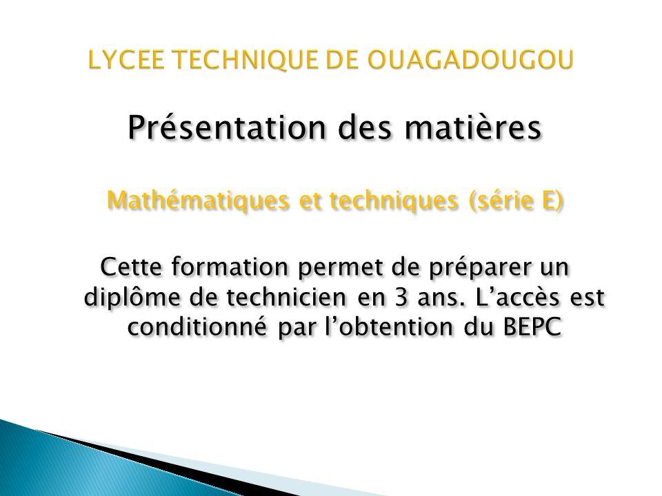 Présentation des matières Technique de vente commerciale (TVC) Cette formation permet de préparer un diplôme de technicien en 2ans.