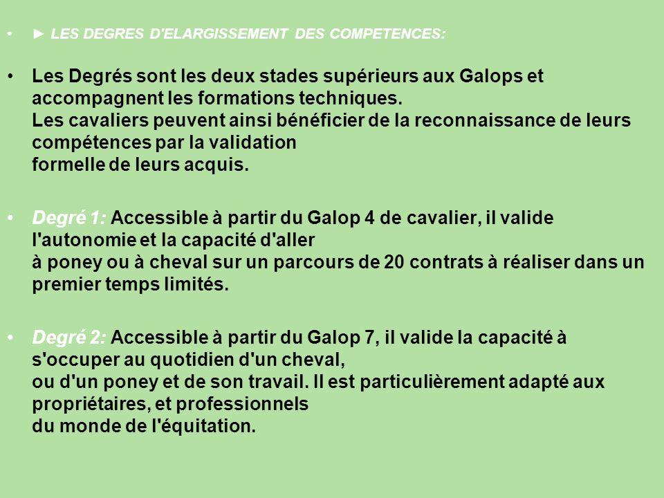 LES DEGRES D ELARGISSEMENT DES COMPETENCES: Les Degrés sont les deux stades supérieurs aux Galops et accompagnent les formations techniques.