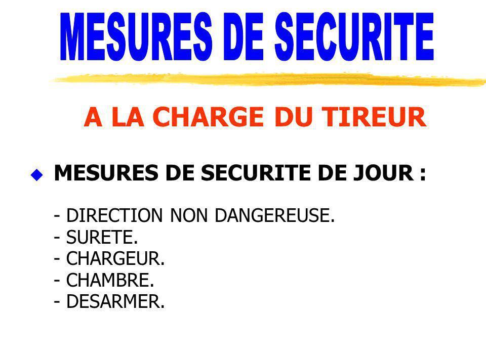 A LA CHARGE DU TIREUR u MESURES DE SECURITE DE JOUR : - DIRECTION NON DANGEREUSE. - SURETE. - CHARGEUR. - CHAMBRE. - DESARMER.