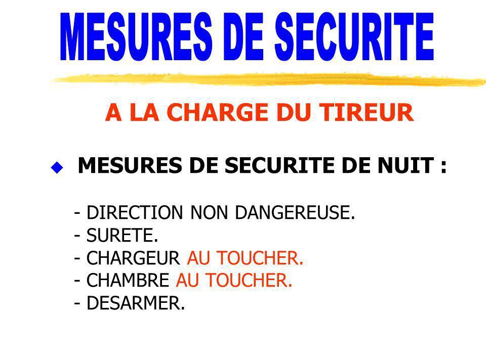 A LA CHARGE DU TIREUR u MESURES DE SECURITE DE NUIT : - DIRECTION NON DANGEREUSE. - SURETE. - CHARGEUR AU TOUCHER. - CHAMBRE AU TOUCHER. - DESARMER.