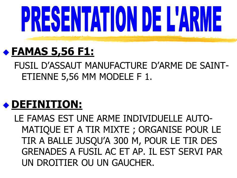 u FAMAS 5,56 F1: FUSIL DASSAUT MANUFACTURE DARME DE SAINT- ETIENNE 5,56 MM MODELE F 1. u DEFINITION: LE FAMAS EST UNE ARME INDIVIDUELLE AUTO- MATIQUE