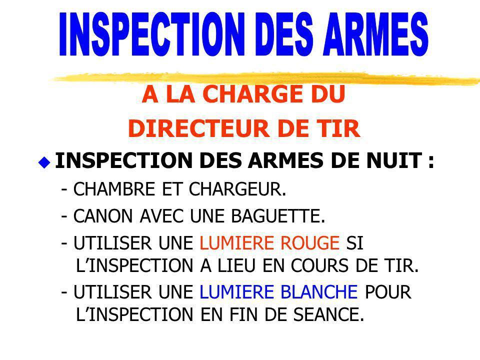 A LA CHARGE DU DIRECTEUR DE TIR u INSPECTION DES ARMES DE NUIT : - CHAMBRE ET CHARGEUR. - CANON AVEC UNE BAGUETTE. - UTILISER UNE LUMIERE ROUGE SI LIN
