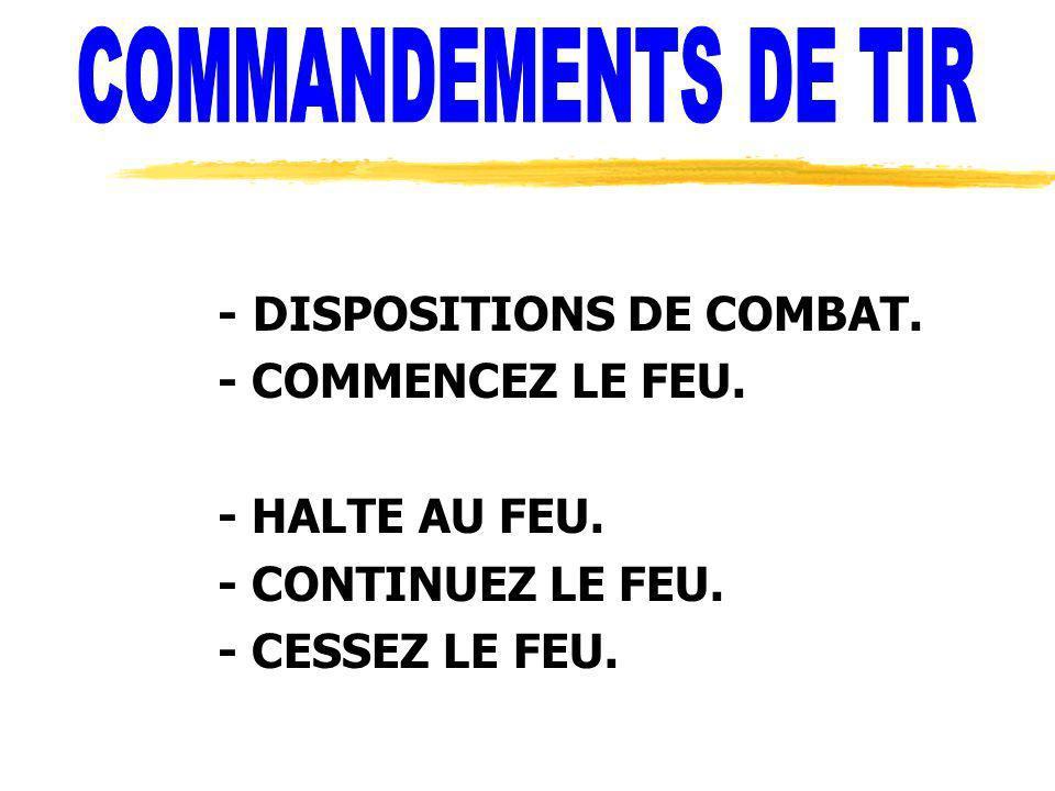 - DISPOSITIONS DE COMBAT. - COMMENCEZ LE FEU. - HALTE AU FEU. - CONTINUEZ LE FEU. - CESSEZ LE FEU.