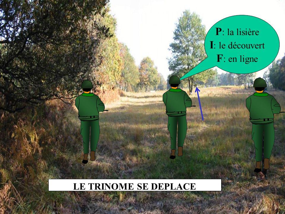 P : la lisière I : le découvert F : en ligne LE TRINOME SE DEPLACE