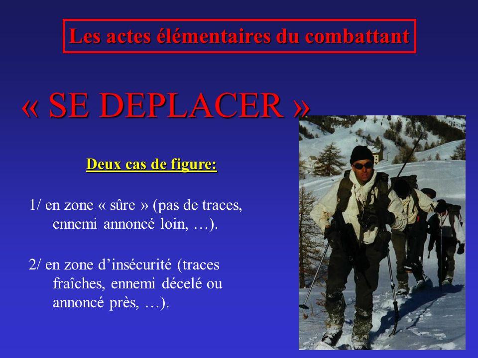 Les actes élémentaires du combattant « SE DEPLACER » Deux cas de figure: 1/ en zone « sûre » (pas de traces, ennemi annoncé loin, …). 2/ en zone dinsé