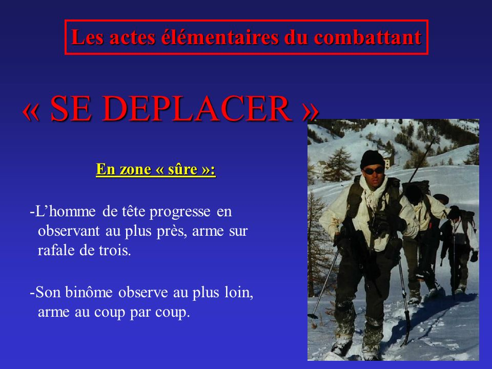 Les actes élémentaires du combattant « SE DEPLACER » En zone « sûre »: -Lhomme de tête progresse en observant au plus près, arme sur rafale de trois.