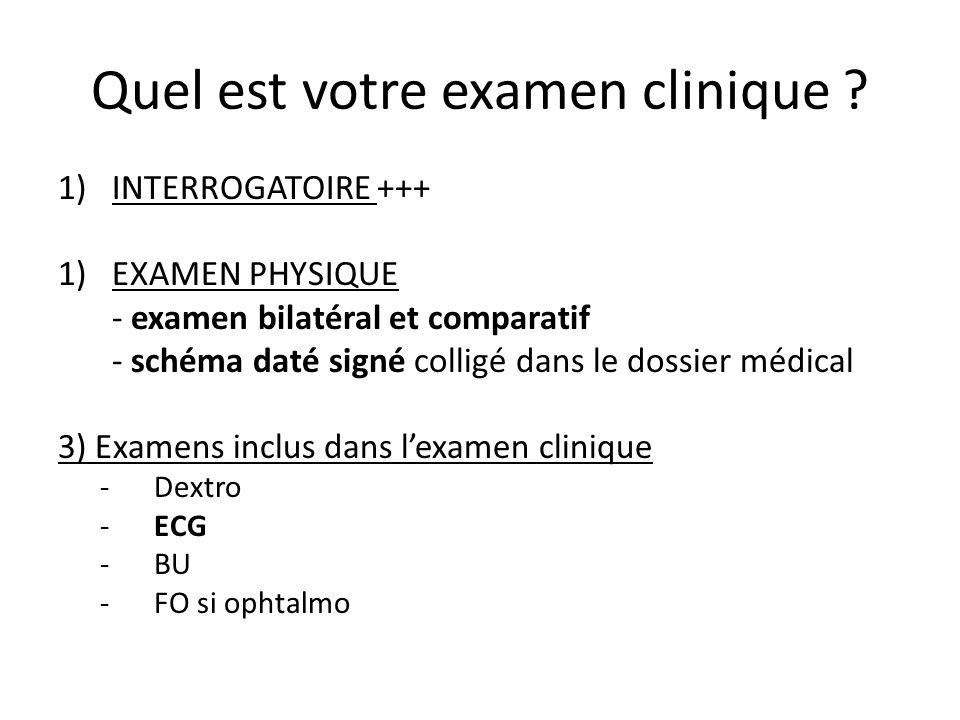 Quel est votre examen clinique ? 1)INTERROGATOIRE +++ 1)EXAMEN PHYSIQUE - examen bilatéral et comparatif - schéma daté signé colligé dans le dossier m