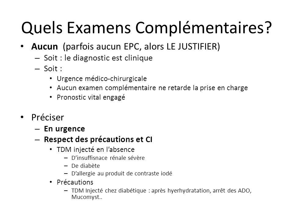 Quels Examens Complémentaires? Aucun (parfois aucun EPC, alors LE JUSTIFIER) – Soit : le diagnostic est clinique – Soit : Urgence médico-chirurgicale