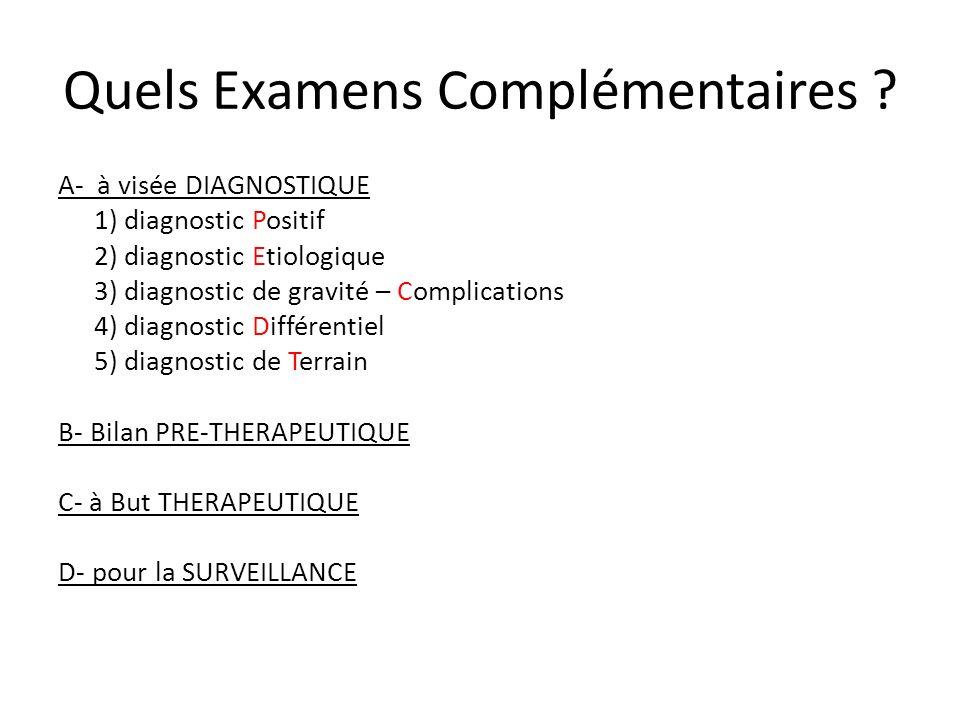Quels Examens Complémentaires ? A- à visée DIAGNOSTIQUE 1) diagnostic Positif 2) diagnostic Etiologique 3) diagnostic de gravité – Complications 4) di