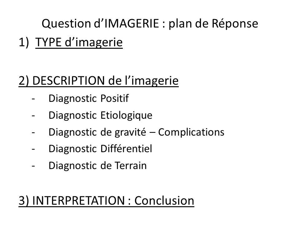 Question dIMAGERIE : plan de Réponse 1)TYPE dimagerie 2) DESCRIPTION de limagerie -Diagnostic Positif -Diagnostic Etiologique -Diagnostic de gravité –