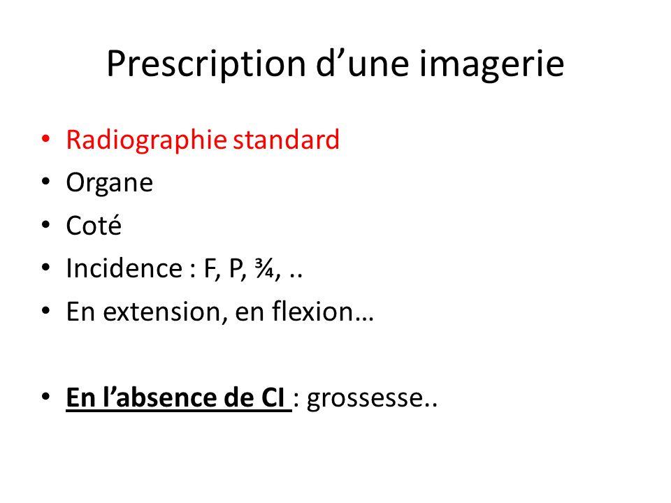 Prescription dune imagerie Radiographie standard Organe Coté Incidence : F, P, ¾,.. En extension, en flexion… En labsence de CI : grossesse..