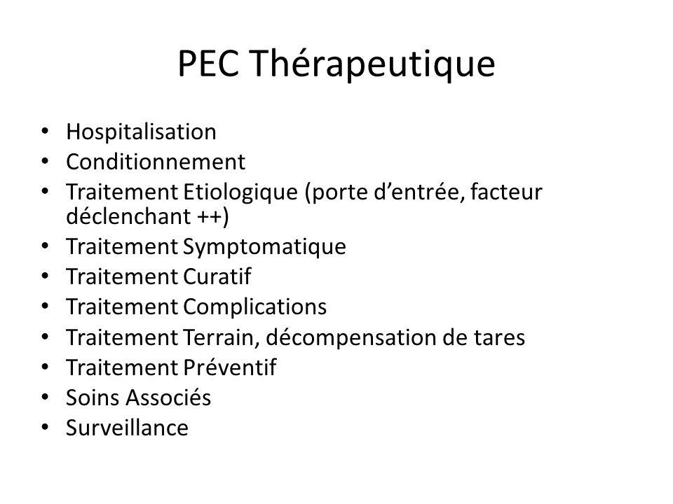 PEC Thérapeutique Hospitalisation Conditionnement Traitement Etiologique (porte dentrée, facteur déclenchant ++) Traitement Symptomatique Traitement C