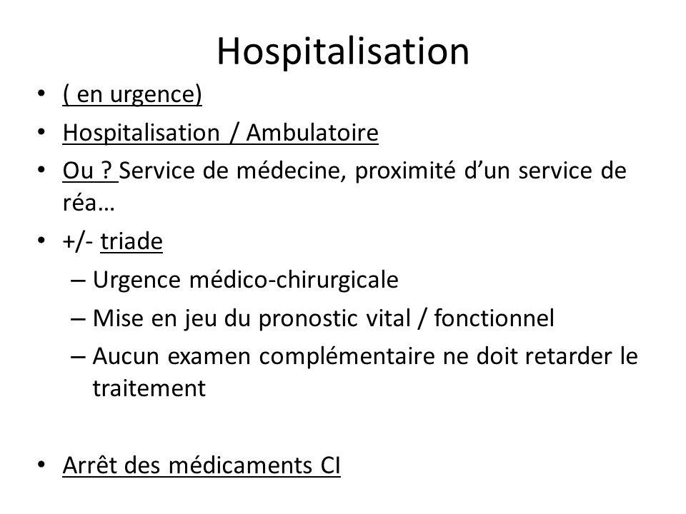 Hospitalisation ( en urgence) Hospitalisation / Ambulatoire Ou ? Service de médecine, proximité dun service de réa… +/- triade – Urgence médico-chirur