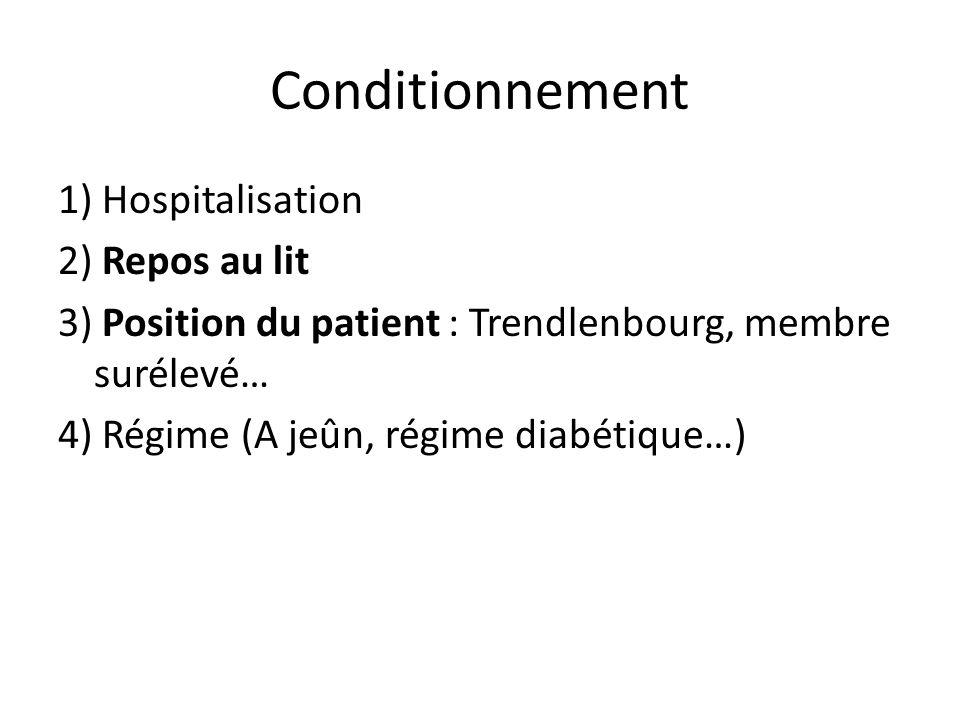 Conditionnement 1) Hospitalisation 2) Repos au lit 3) Position du patient : Trendlenbourg, membre surélevé… 4) Régime (A jeûn, régime diabétique…)