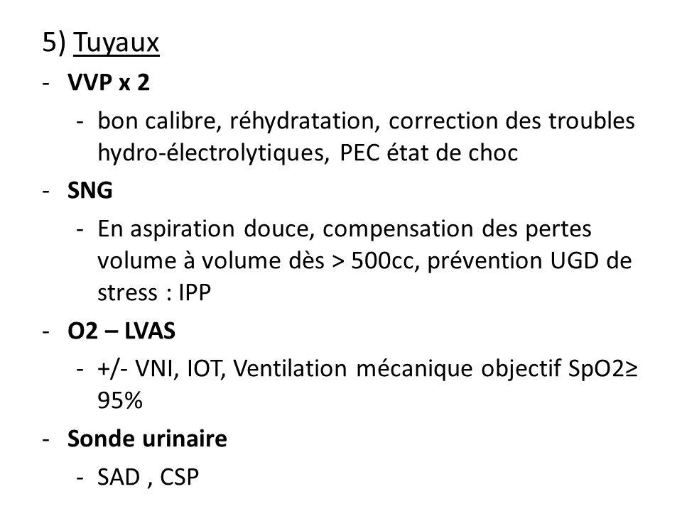 5) Tuyaux -VVP x 2 -bon calibre, réhydratation, correction des troubles hydro-électrolytiques, PEC état de choc -SNG -En aspiration douce, compensatio