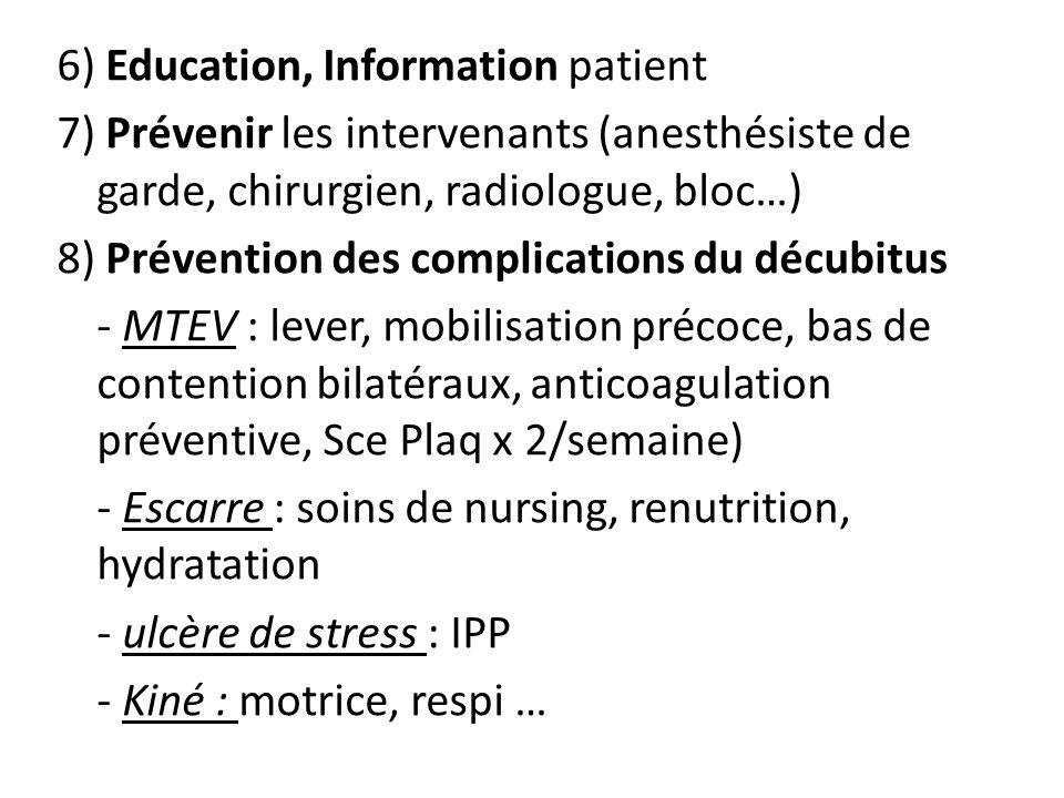 6) Education, Information patient 7) Prévenir les intervenants (anesthésiste de garde, chirurgien, radiologue, bloc…) 8) Prévention des complications