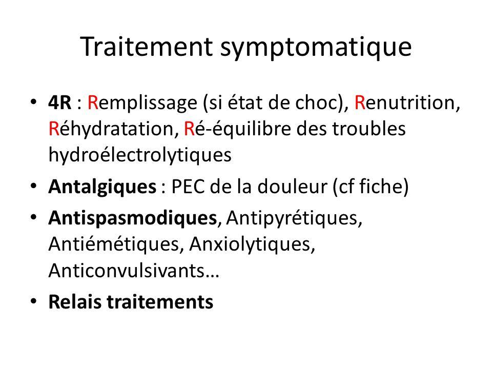 Traitement symptomatique 4R : Remplissage (si état de choc), Renutrition, Réhydratation, Ré-équilibre des troubles hydroélectrolytiques Antalgiques :