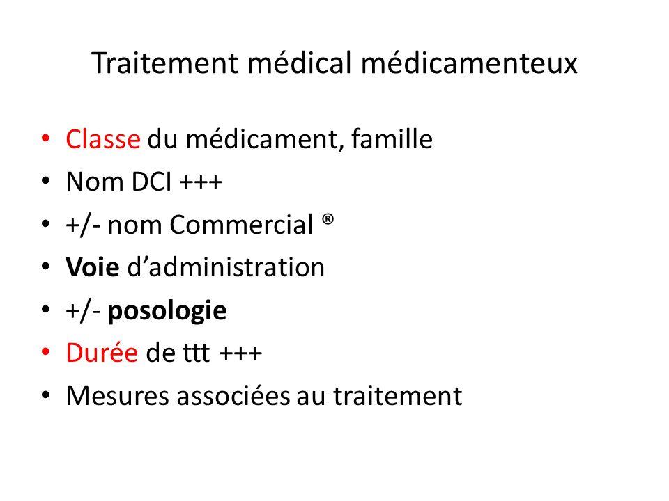 Traitement médical médicamenteux Classe du médicament, famille Nom DCI +++ +/- nom Commercial ® Voie dadministration +/- posologie Durée de ttt +++ Me