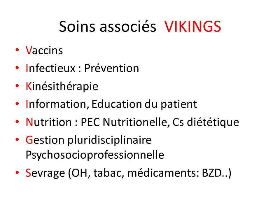 Soins associés VIKINGS Vaccins Infectieux : Prévention Kinésithérapie Information, Education du patient Nutrition : PEC Nutritionelle, Cs diététique G