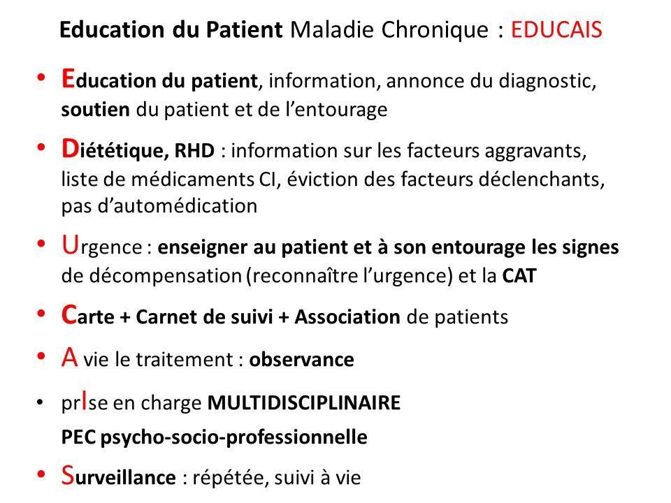 Education du Patient Maladie Chronique : EDUCAIS E ducation du patient, information, annonce du diagnostic, soutien du patient et de lentourage D iété