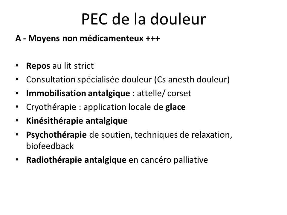 PEC de la douleur A - Moyens non médicamenteux +++ Repos au lit strict Consultation spécialisée douleur (Cs anesth douleur) Immobilisation antalgique