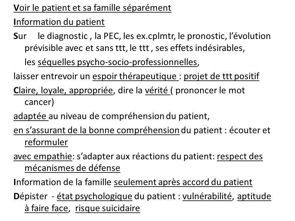 Voir le patient et sa famille séparément Information du patient Sur le diagnostic, la PEC, les ex.cplmtr, le pronostic, lévolution prévisible avec et