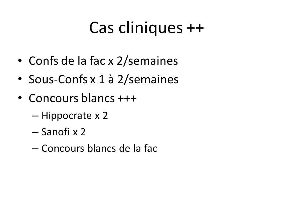 Cas cliniques ++ Confs de la fac x 2/semaines Sous-Confs x 1 à 2/semaines Concours blancs +++ – Hippocrate x 2 – Sanofi x 2 – Concours blancs de la fa