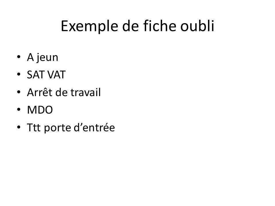 Exemple de fiche oubli A jeun SAT VAT Arrêt de travail MDO Ttt porte dentrée