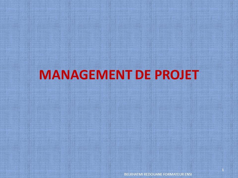 MANAGEMENT DE PROJET BELKHATMI REDOUANE FORMATEUR ENSI 1
