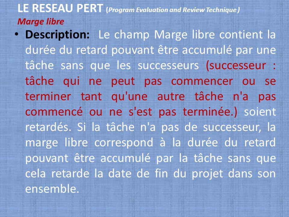 LE RESEAU PERT (Program Evaluation and Review Technique ) Marge libre Description: Le champ Marge libre contient la durée du retard pouvant être accum