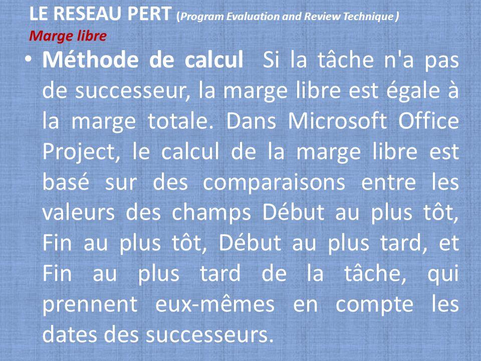 LE RESEAU PERT (Program Evaluation and Review Technique ) Marge libre Méthode de calcul Si la tâche n'a pas de successeur, la marge libre est égale à