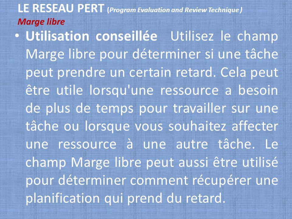 LE RESEAU PERT (Program Evaluation and Review Technique ) Marge libre Utilisation conseillée Utilisez le champ Marge libre pour déterminer si une tâch