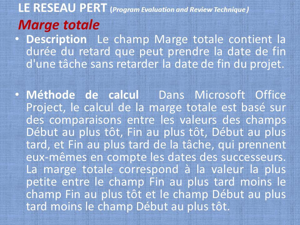 LE RESEAU PERT (Program Evaluation and Review Technique ) Marge totale Description Le champ Marge totale contient la durée du retard que peut prendre