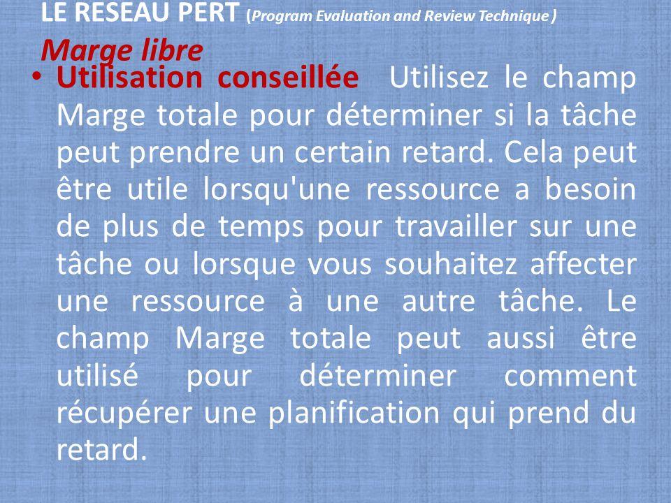 LE RESEAU PERT (Program Evaluation and Review Technique ) Marge libre Utilisation conseillée Utilisez le champ Marge totale pour déterminer si la tâch