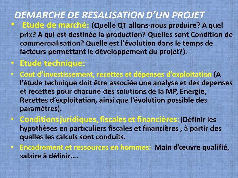 DEMARCHE DE RESALISATION DUN PROJET Etude de marché: (Quelle QT allons-nous produire? A quel prix? A qui est destinée la production? Quelles sont Cond