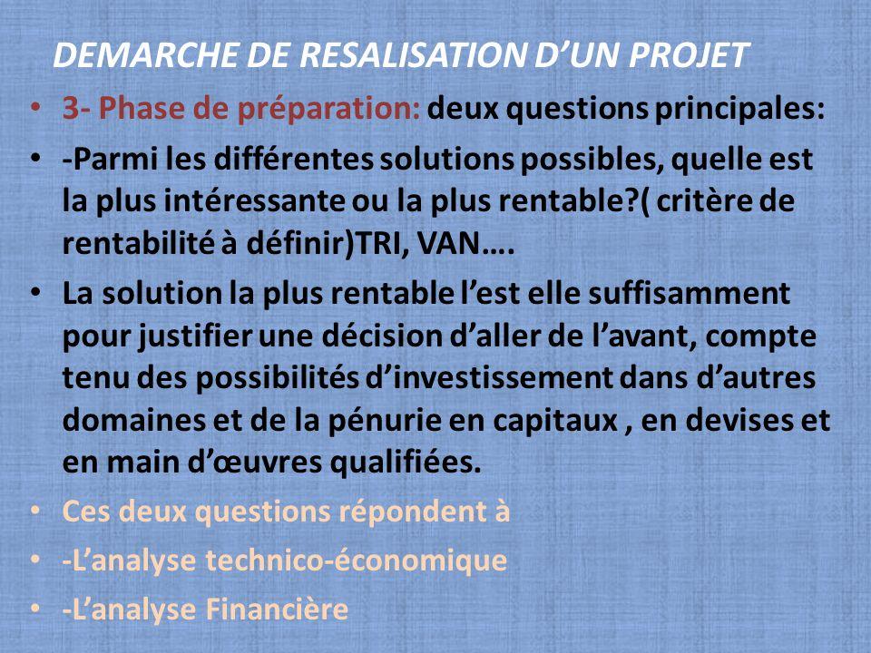 3- Phase de préparation: deux questions principales: -Parmi les différentes solutions possibles, quelle est la plus intéressante ou la plus rentable?(