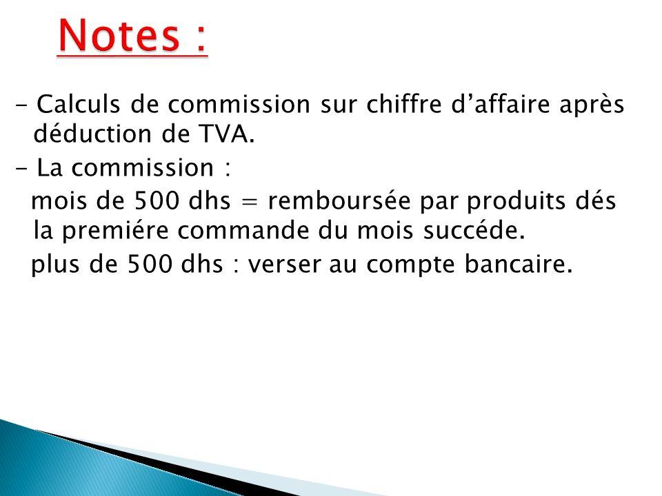- Calculs de commission sur chiffre daffaire après déduction de TVA.