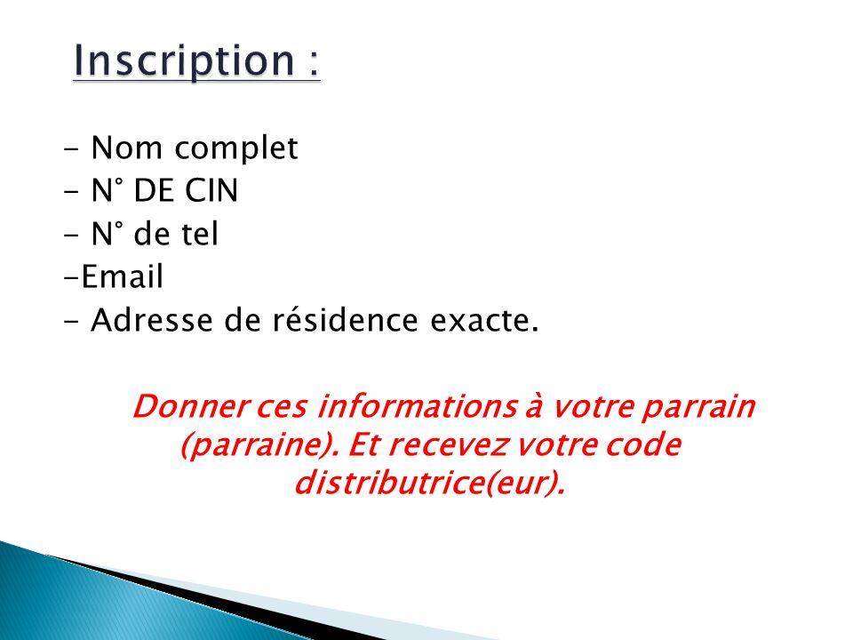 - Nom complet - N° DE CIN - N° de tel -Email - Adresse de résidence exacte.
