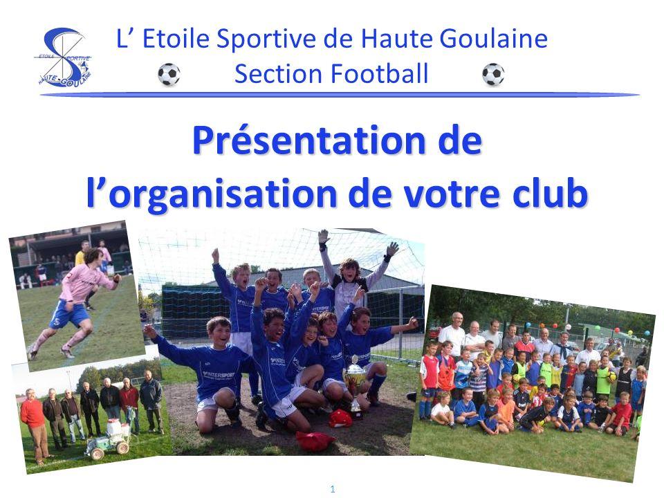 1 Présentation de lorganisation de votre club L Etoile Sportive de Haute Goulaine Section Football