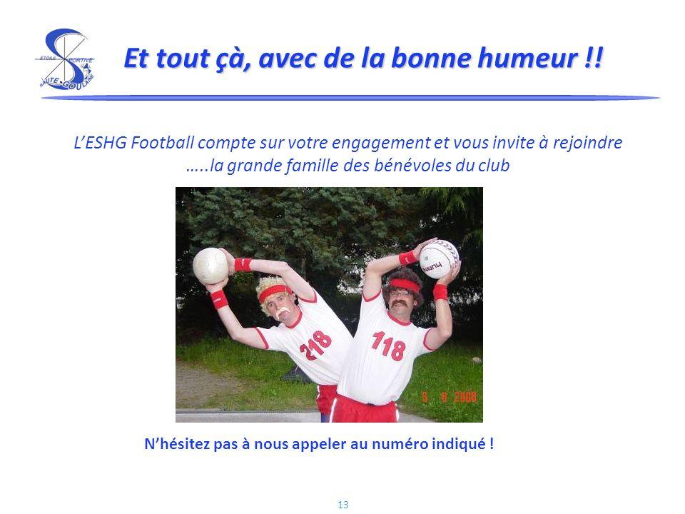 13 Et tout çà, avec de la bonne humeur !! LESHG Football compte sur votre engagement et vous invite à rejoindre …..la grande famille des bénévoles du