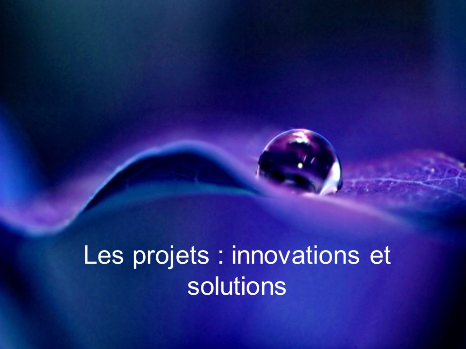 Les projets : innovations et solutions