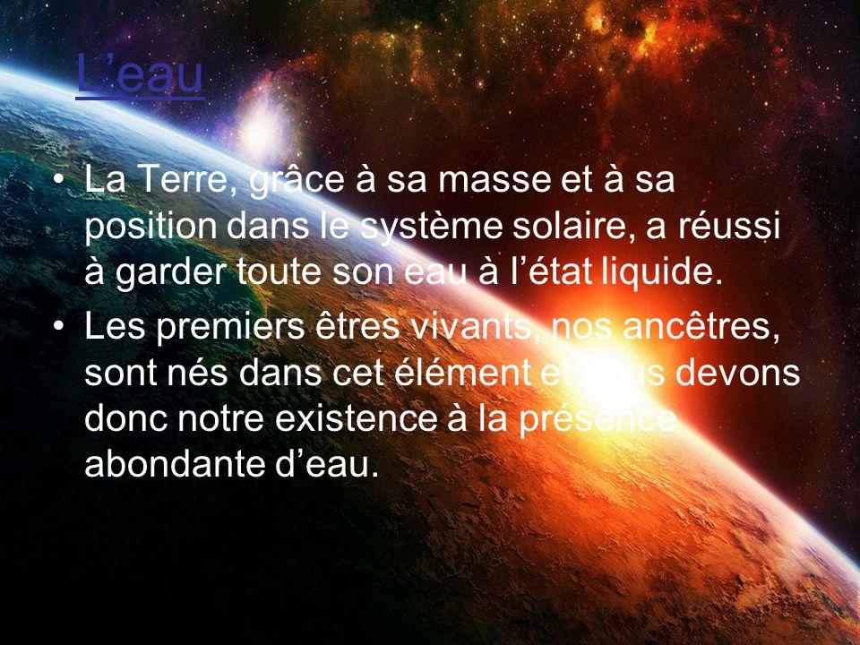 Leau La Terre, grâce à sa masse et à sa position dans le système solaire, a réussi à garder toute son eau à létat liquide. Les premiers êtres vivants,