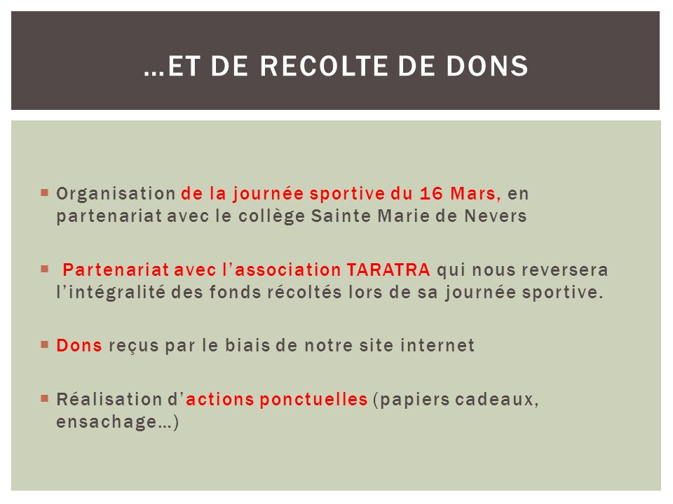 Organisation de la journée sportive du 16 Mars, en partenariat avec le collège Sainte Marie de Nevers Partenariat avec lassociation TARATRA qui nous reversera lintégralité des fonds récoltés lors de sa journée sportive.