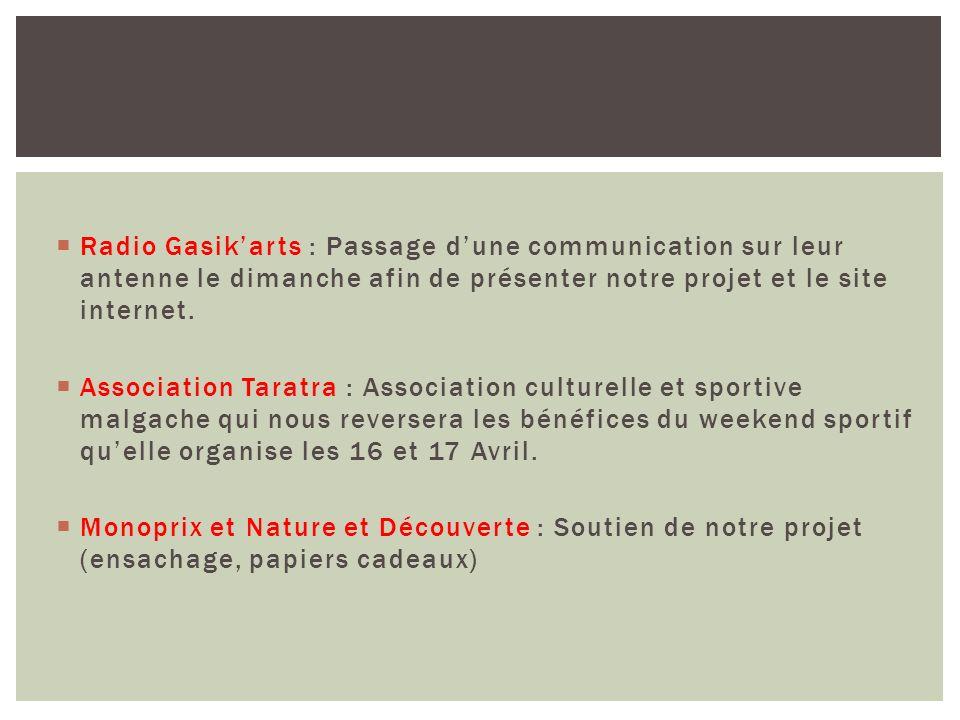 Radio Gasikarts : Passage dune communication sur leur antenne le dimanche afin de présenter notre projet et le site internet. Association Taratra : As