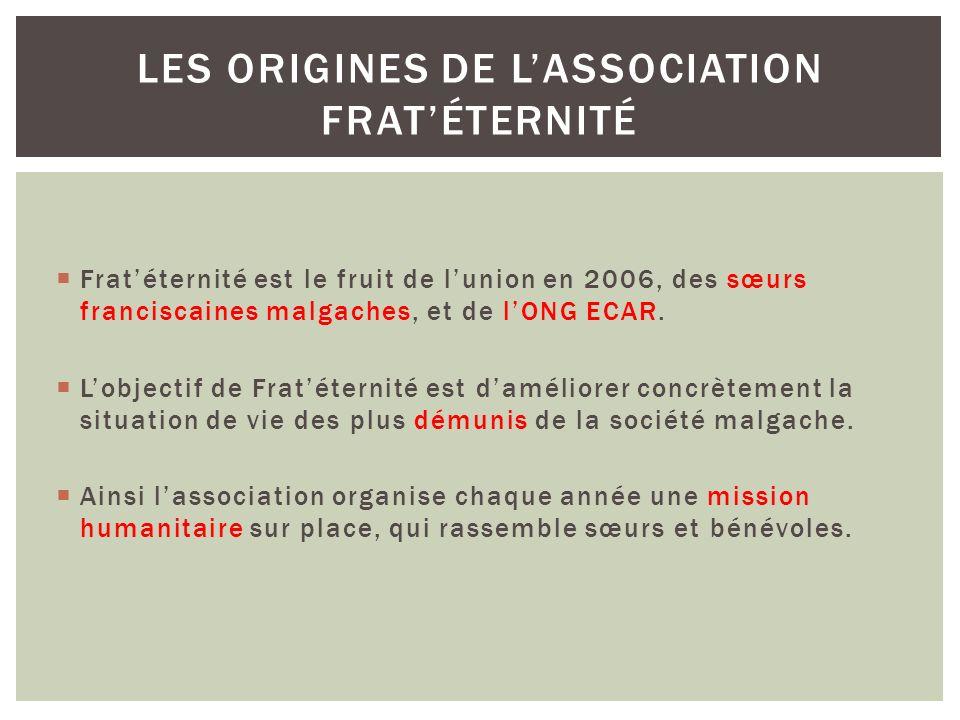 Fratéternité est le fruit de lunion en 2006, des sœurs franciscaines malgaches, et de lONG ECAR. Lobjectif de Fratéternité est daméliorer concrètement