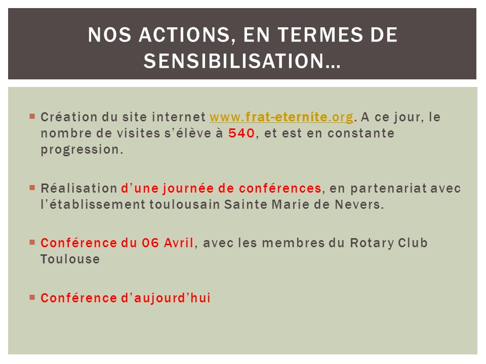 Création du site internet www.frat-eternite.org.
