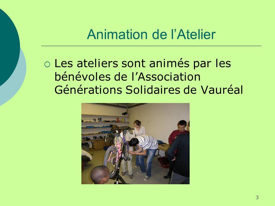 3 Animation de lAtelier Les ateliers sont animés par les bénévoles de lAssociation Générations Solidaires de Vauréal