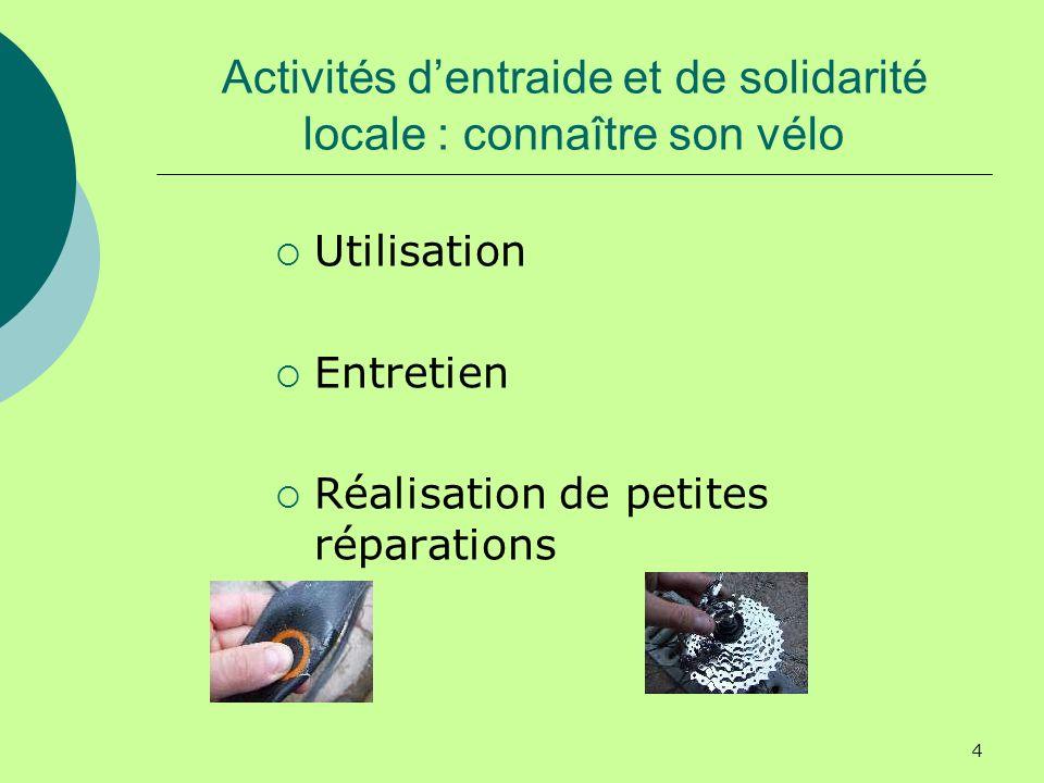 4 Activités dentraide et de solidarité locale : connaître son vélo Utilisation Entretien Réalisation de petites réparations